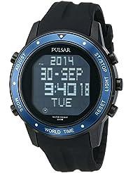 Pulsar Mens PQ2021 On The Go Digital Display Japanese Quartz Black Watch