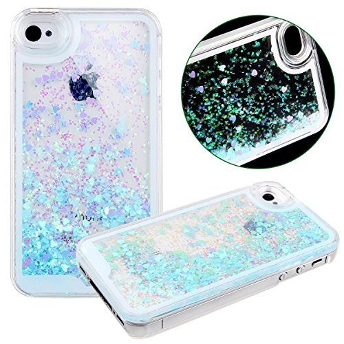 iPhone 4 4S Case,Creative Quicksand Flowing Liquid Dynamic Floating Bling Glitter Sparkle Love Heart Hard Case Back Cover for Apple iPhone 4/4G/4S (Glow In The Dark Skin Iphone 4s)