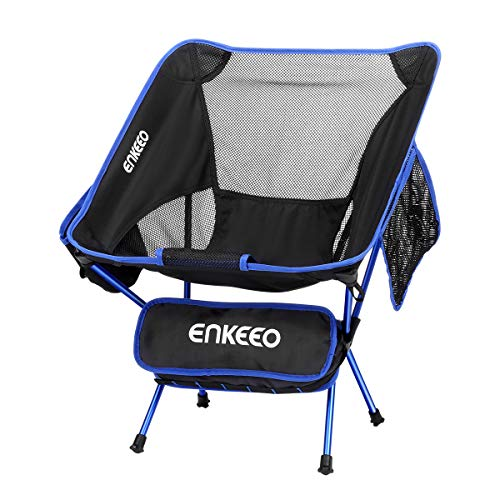 ENKEEO Camping Chair Folding Portable Mesh Picnic Seat with 330 lbs. Capacity, Backrest, Pocket and Carry Bag, for Fishing, Hiking, Picnic and Travel