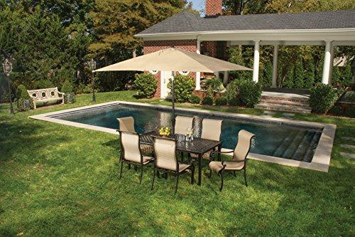 Hanover BRIGDN7PC-SU Brigantine 7 Piece Dining Set with Cast Top Table and Umbrella, 9' Outdoor Furniture, Tan