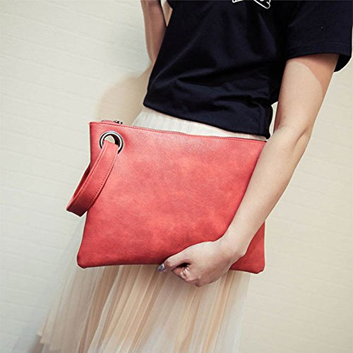 leather Large Womens Clutch ZOONAI Red Oversized Evening Handbag Bag Purse Wristlet xqYCBaw