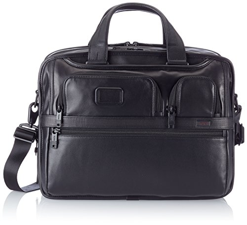 Tumi Alpha 2 Expandable Organizer Laptop Leather Brief, Black, One (Expandable Leather Laptop Brief)