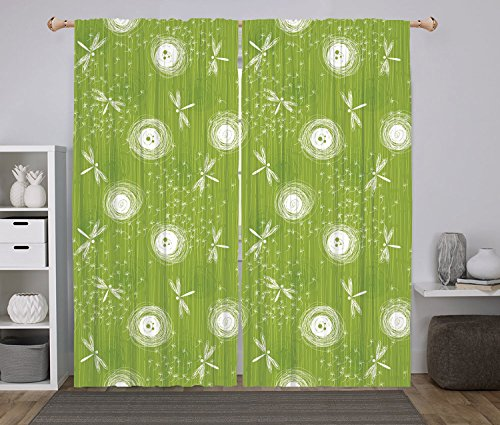 Polyester Window Drapes Kitchen Curtains,Dragonfly,Sketch St