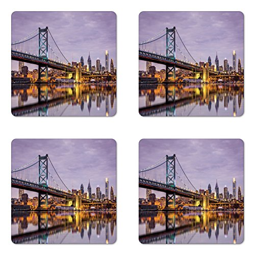 City Coaster Set of Four by Lunarable, Ben Franklin Bridge Skyscrapers Delaware Tower Modern Cityscape Panorama Photography, Square Hardboard Gloss Coasters for Drinks, Lilac - Style Ben Franklin Glasses