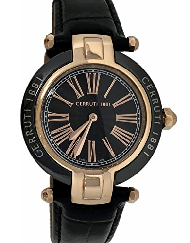 Cerruti 1881 Ladies Ceramic Watch Black Rose Gold Tone with Leather Strap CRWM040Z282N