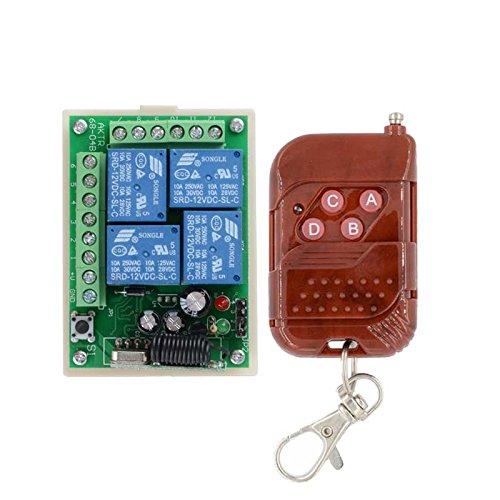 lejin DC 12V 24V 4Canal Relé 10A RF inalámbrico mando a distancia Interruptor Sistema Receptor Transmisor & inalámbrico Luz Interruptores de radio para Smart Home Receptor de radio emisor manual Control Remoto
