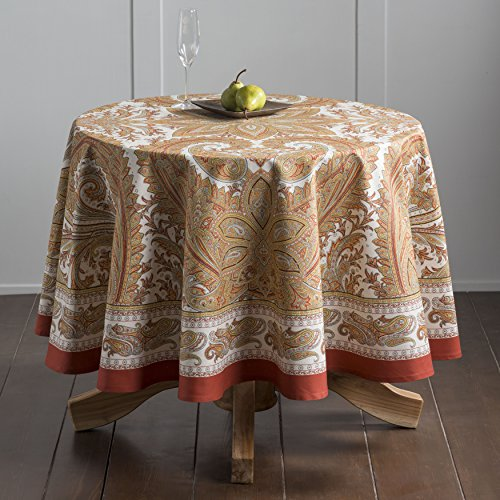Maison d' Hermine Kashmir Paisley 100% Cotton Tablecloth 69 Inch (Round Tablecloth Pattern)