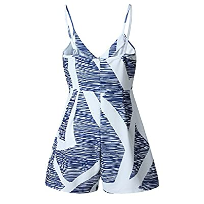 Angashion Women's Sexy V Neck Printed Spaghetti Strap Beach Romper Shorts Jumpsuit XS-3XL: Clothing