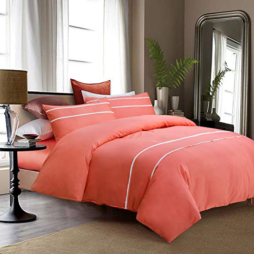 Softta Coral Orange Texture Solid Soft Queen Size Bedding Duvet/Quilt Cover Set Zipper Closure (1 Duvet Cover + 2 Pillowcases/Shams) 100% Long-Staple Egyptian Cotton ()