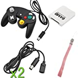 BIRUGEAR 2x Black Wired Controller + 2x Black 6FT Extension Cable + White 64MB Memory Card + BlueMall Wrist Strap for Nintendo Wii Gamecube