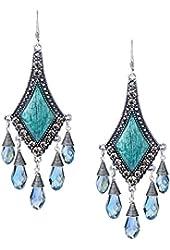 She Lian Vintage Silver Tone Rhinestone Jewelry Big Dangle Chandelier Earrings for Women