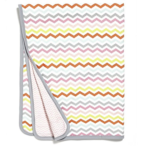 Skip Hop Baby Girls' Starry Chevron Reversible Welcome Receiving Blanket, Pink, One Size