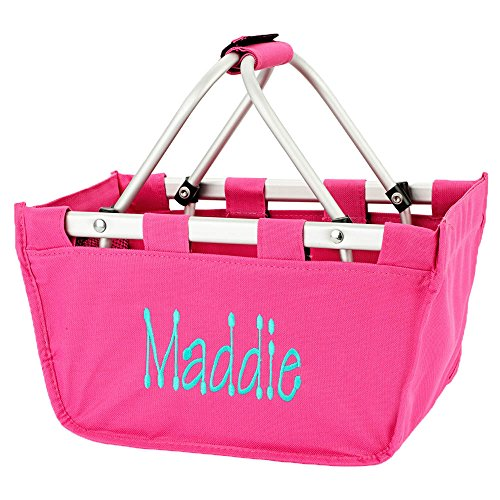 Personalized Hot Pink Mini Collapsible Market Tote Basket Small Size