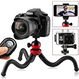 "Flexible Tripod, 12"" Camera Tripod + Bluetooth Remote for iPhone, Android Smartphone, Camera Tripod for DSLR, GoPro, 360° Rotatable Swivel Mount"