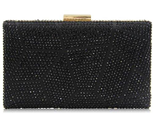 Soirée Sac Main Bourse Pour À Black Cocktail Crystal Femmes Clutch Embrayage Les NBWE Multicolore Strass YnwIggE1