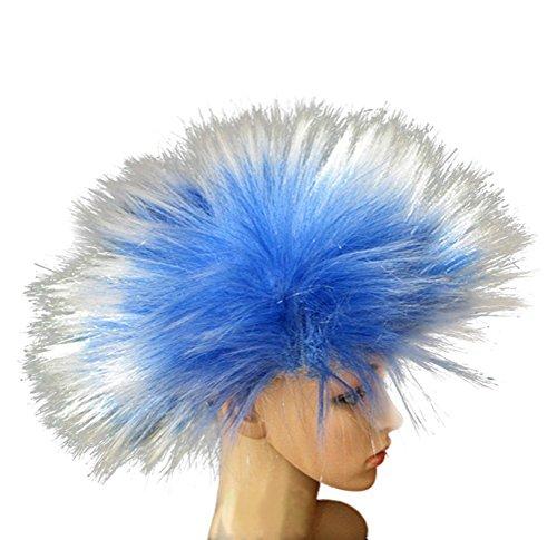 [Nuoqi Men's Unisex Frenzy Wigs Funky Punk Halloween Costumes Wigs (Blue-White)] (Funky Blue Punk Wig)