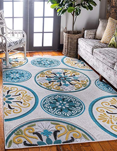 Unique Loom Outdoor Modern Collection Carved Floral Transitional Indoor and Outdoor Flatweave Cream  Area Rug (4' x 6') - Outdoor Floral Rug