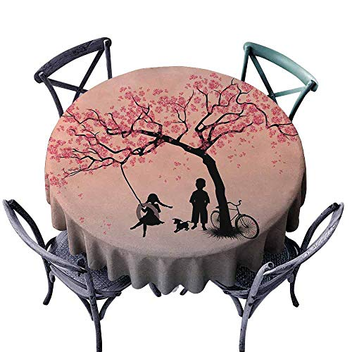 HCCJLCKS Easy Care Tablecloth Tree of Life Children Playing on a Tire Swing Under Cherry Tree with Dog Blossom Spring Art Indoor Outdoor Camping Picnic D55 Pink Black