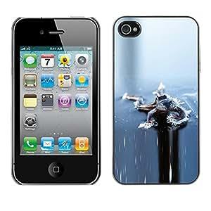 FECELL CITY // Duro Aluminio Pegatina PC Caso decorativo Funda Carcasa de Protección para Apple Iphone 4 / 4S // Ice Grey Gray Winter Frozen