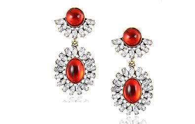 d1de0e8af Amazon.com: Gorgeous Elegant Red Cabochon Austrian Crystal Drop ...