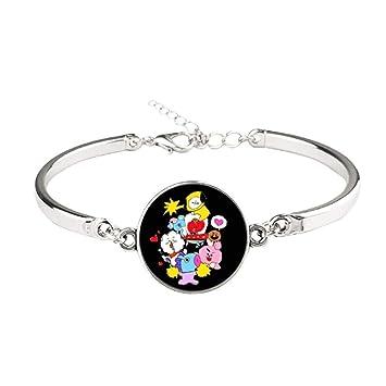 Teblacker BTS Bracelet | Unisex Kpop Bangtan Boys Jungkook, Jimin, V, Suga,  Jin, J-Hope, Rap Monster Glass Gemstone Wristband Wristlet for The Army(