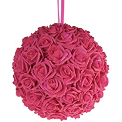 "Homeford FNS008565FUS Soft Touch Foam Kissing Ball Wedding Centerpiece, 12"", Fuchsia"