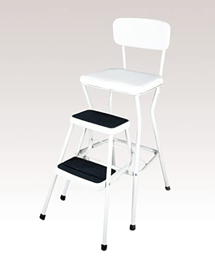 Merveilleux COSCO 11118WHTE White Retro Counter Chair/Step Stool With Pull Out Steps,  Counter
