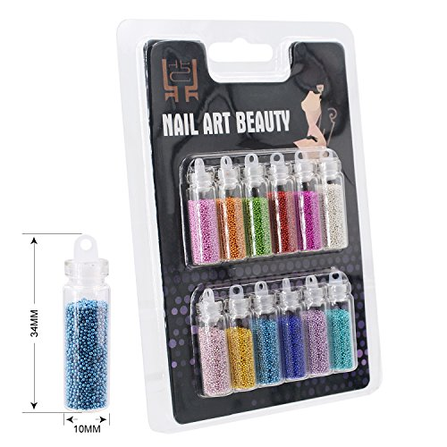 iNewcow 12 Colors Bottled Caviar Nail Art Plastic Ball Beads Manicure Pedicure 3D Decoration -