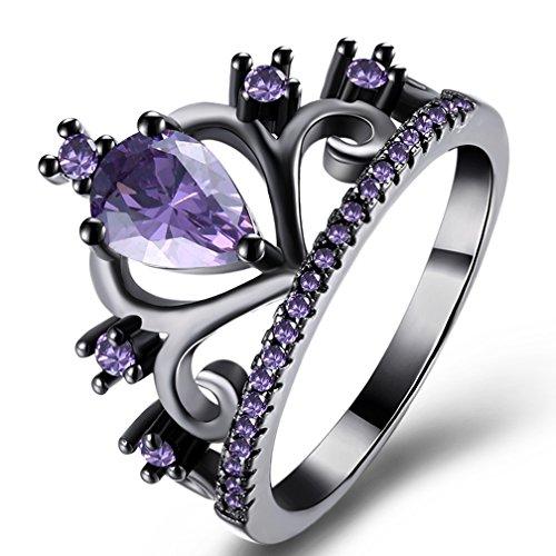 Women's Crown Tiara Rings Vintage 18K Black Gold Plated Pear Cut CZ Crystal Halo Wedding Engagement Eternity Rings Purple, 8 from SAINTHERO