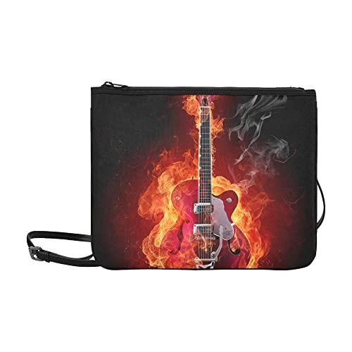 JEOLVP Guitarra eléctrica Fire Mire otro modelo de Fire Stock de stock Personalizado de alta calidad Nylon Slim Clutch Bag Cross-body Bag Shoulder Bag: ...