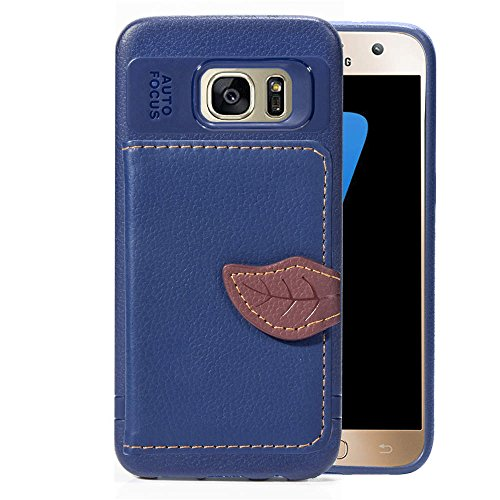 DAMONDY for Galaxy S7 Case,Luxury Leaf Wallet Purse Card Holders Design Cover Soft Bumper Shockproof Flip Leather Kickstand Case for Samsung Galaxy S7-Blue