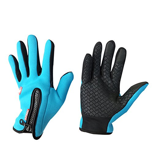 Touch Screen Gloves Unisex Wool Warm gloves ( Lake blue) - 1