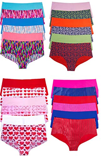 Sexy Basics Women's 24 Pack Boyshort No Panty Line Seamless Underwear(24 Pack- Assorted Prints & Solids, XX-Large) (Womens Seamless Basic Shorts)