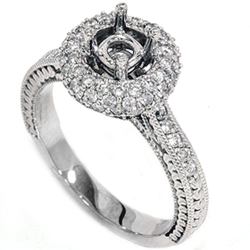 5/8ct Diamond Engagement Ring Setting White Gold Mount