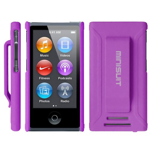 Minisuit JAZZ Slim Shell Case with Belt Clip + Screen Protector for iPod Nano 7 or 8 / 7th or 8th Gen (Rubberized Purple)