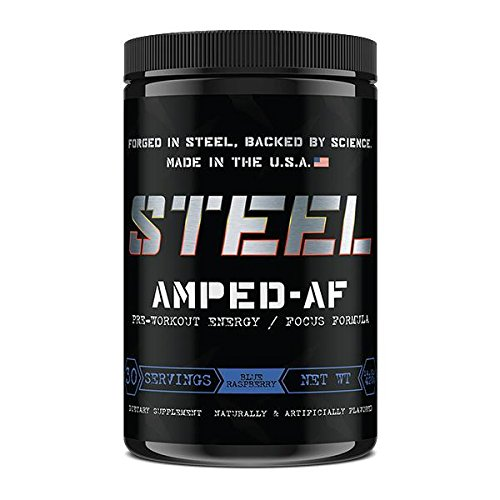 Steel Supplements Amped-AF Pre Workout Powder Energy Drink One3 Enhanced with Vitamins B6 and B12 High Intensity 30 Servings (Blue Raspberry)