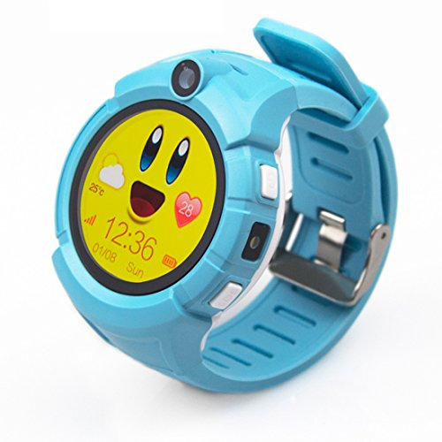 PINCHU Q360 Kids Smart Watches GPS Location Child Touch Smartwatch SOS Anti-Lost Monitor Baby Watch Pk Q50 Q90,Blue