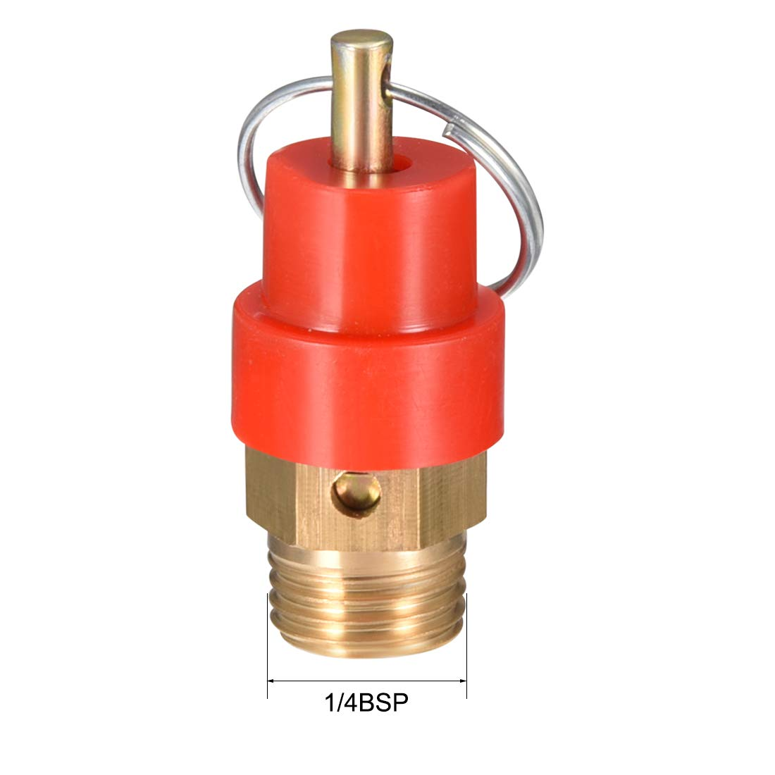 1//4 BSP Male 0.8Mpa Set Pressure uxcell Safety Valve Air Compressor Pressure Relief Valve 2Pack Red Hat