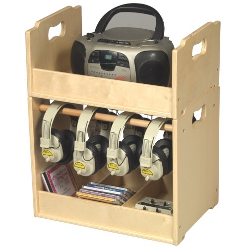 (Guidecraft Kids Stacking Audio Storage Units Dowel Slots Audio Equipment)