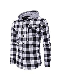 Ninasill Clearance!Men's Casual Plaid Shirts Long Sleeve Pullover Shirts Hooded