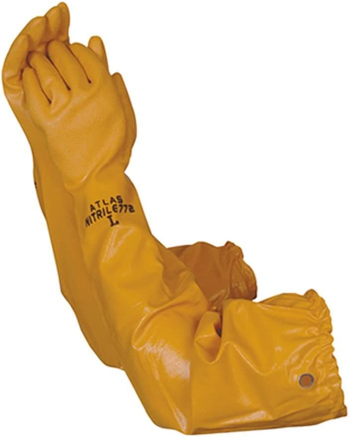 Atlas 772 26-inch Nitrile X-Large Elbow Length Chemical Resistant Yellow Gloves: Kitchen & Dining