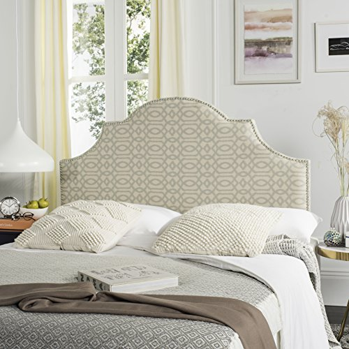 safavieh hallmar wheat pale blue upholstered arched headboard silver nailhead queen - Moroccan Bed Frame
