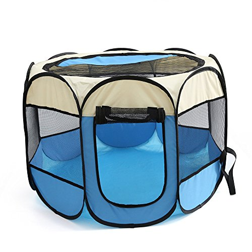 WowowMeow Foldable 8 Panels Pet Playpen Portable Dog Cage Fence with Zipper Door for Cats, Dogs, Rabbits or Small Animals (S, Beige Blue) by WowowMeow