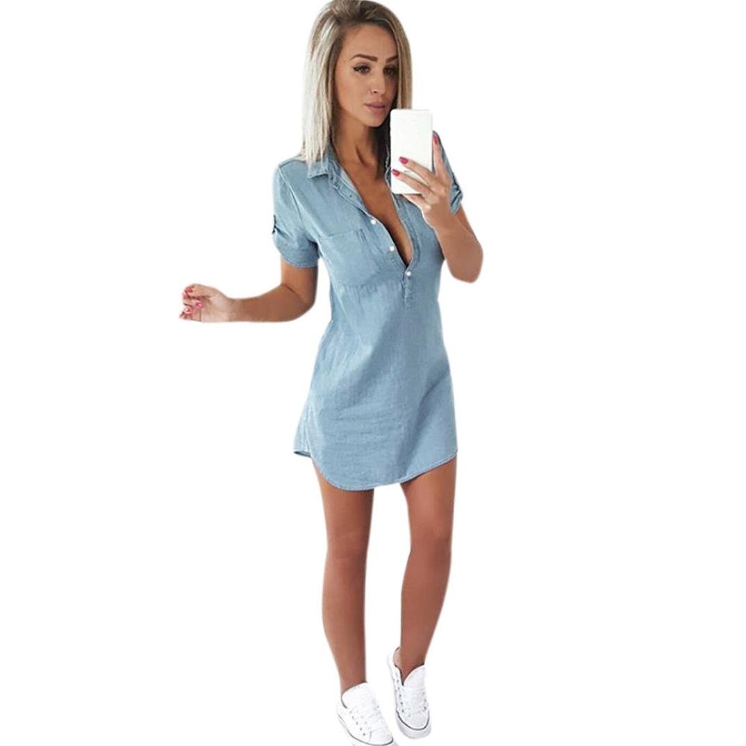 Women Summer Dress,BingYELH Hot Sale Fashion Csual Stylish Short Curved Sleeve Solid Button Down Casual A-Line Dress With Pocket (X-Large, Blue)