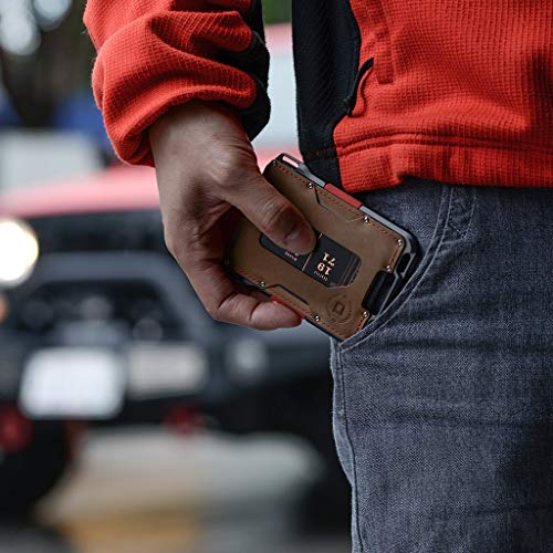 Dango M1 Maverick Wallet - CNC-Machined Aluminum, RFID Blocking, Made in USA (Rawhide/Slate Grey)