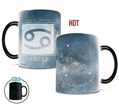 Morphing Mugs Birthday Zodiac Sign (Cancer) Heat Reveal Ceramic Coffee Mug - 11 Ounces Light Blue (Zodiac Mug)