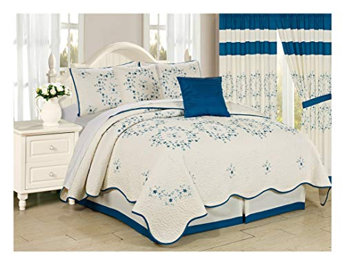 (All American Collection 6 Piece Turquoise Circle Floral Embroidered Bedspread and Pillow Sham Set (King))