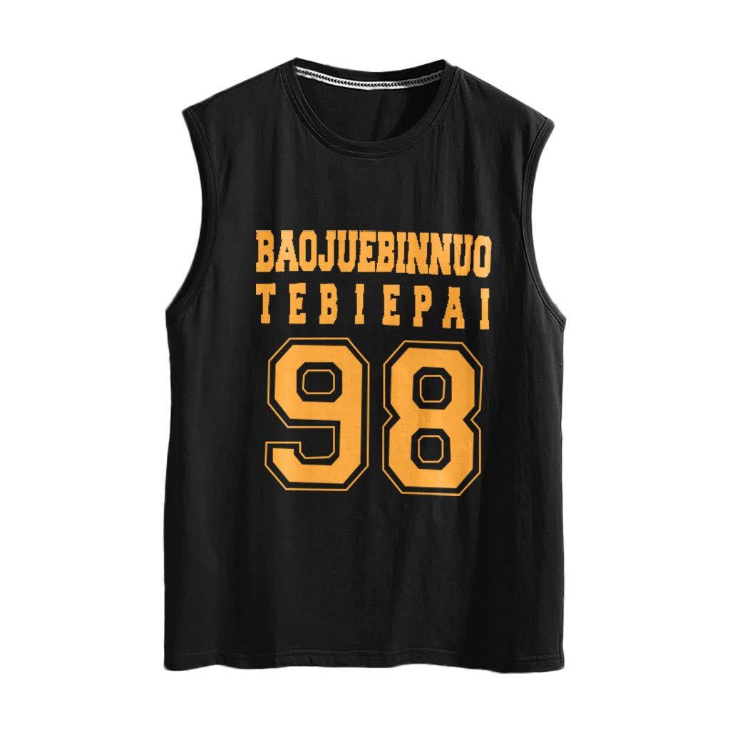 Winsummer Men's Basketball Tank Top Quick-Dry Sports Gym Fitness Shirt Sleeveless Summer Muscle T-Shirt Black