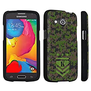DuroCase ? Samsung Galaxy Avant G386T Hard Case Black - (Army Camo Monogram K)