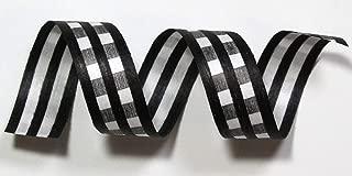 "product image for 100% Biodegradable Natural Ribbon | Prints & Stripes | Ribbon for Crafts | Cotton Curling Ribbon | Holiday Ribbon | Wrapping Ribbon | Eco-Friendly Ribbon (B&W Gingham, 1/2"" x 100 Yards)"
